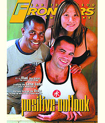 "FRONTIERS magazine cover: two men and a woman with the headline ""Positive Outlook."""